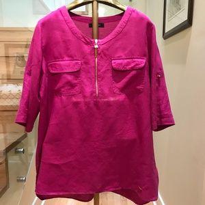 Ellen Tracy Fuchsia 100% Linen Tunic SZ XL